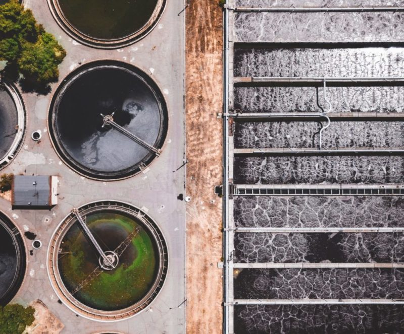 Bird's-eye view of a wastewater plant
